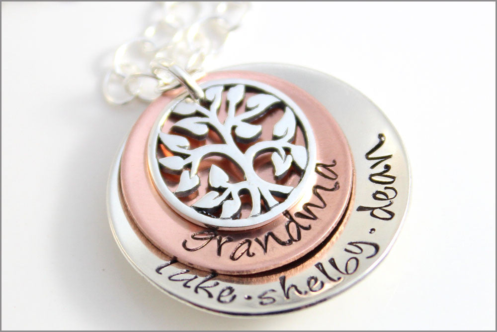 Personalized Grandma Tree of Life Necklace | Small Grandma Necklace