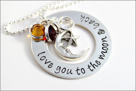 Love You to the Moon & Back Washer Necklace | Sterling Silver Mom Necklace, Personalized Birthstone Necklace, Hand Stamped Mom Jewelry