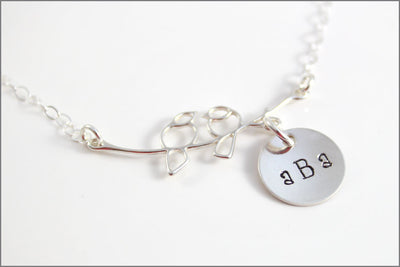 Love Bird Necklace with Monogram Charm - Sterling Silver Couples Necklace - Hand Stamped Jewelry