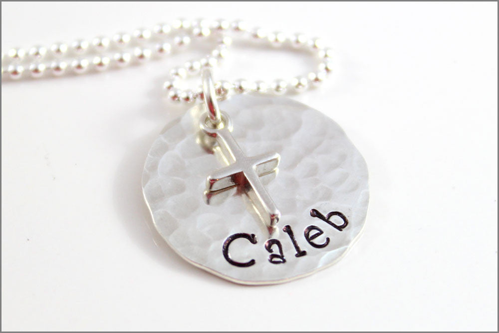 Personalized Confirmation Necklace | Sterling Silver Cross Charm, Hammered Name Charm, Religious Gifts for Her, Custom Cross Necklace