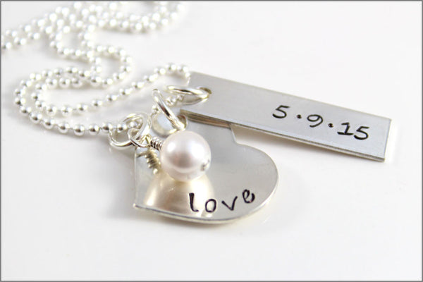 Custom Wedding Necklace | Gifts for Bride, Silver Heart Love Necklace, Personalized Wedding Date Necklace, Gift Ideas for Just Married