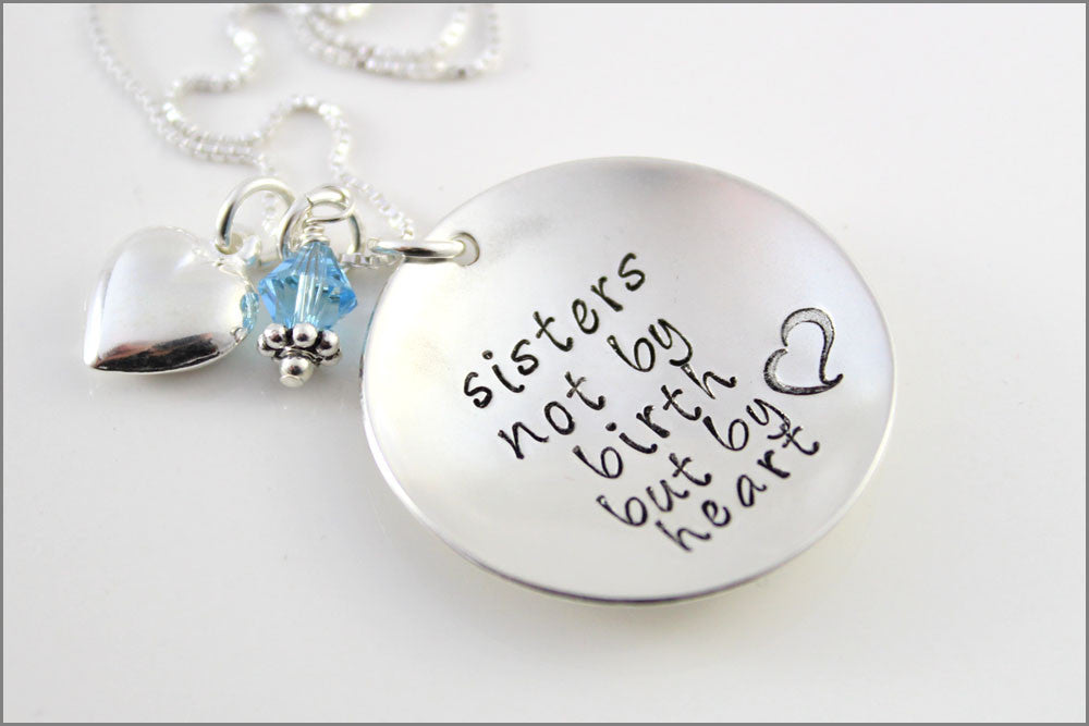 f5458248f8d68 Sterling Silver Sorority Sisters Necklace | Sister's Not by Birth but by  Heart, Special Gifts for Friend, Gifts for Cousin