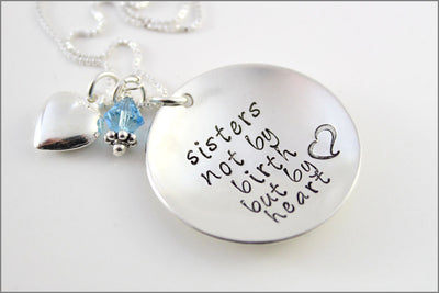 Sterling Silver Sorority Sisters Necklace | Sister's Not by Birth but by Heart