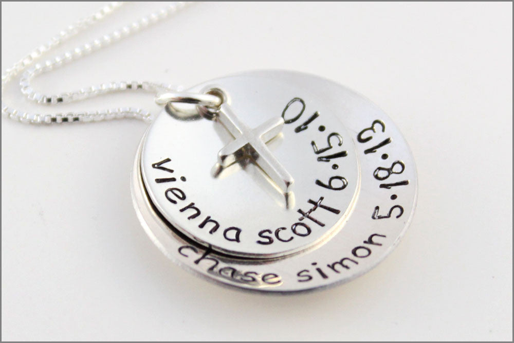 Personalized Silver Stacked Necklace | Name and Birthdate Necklace