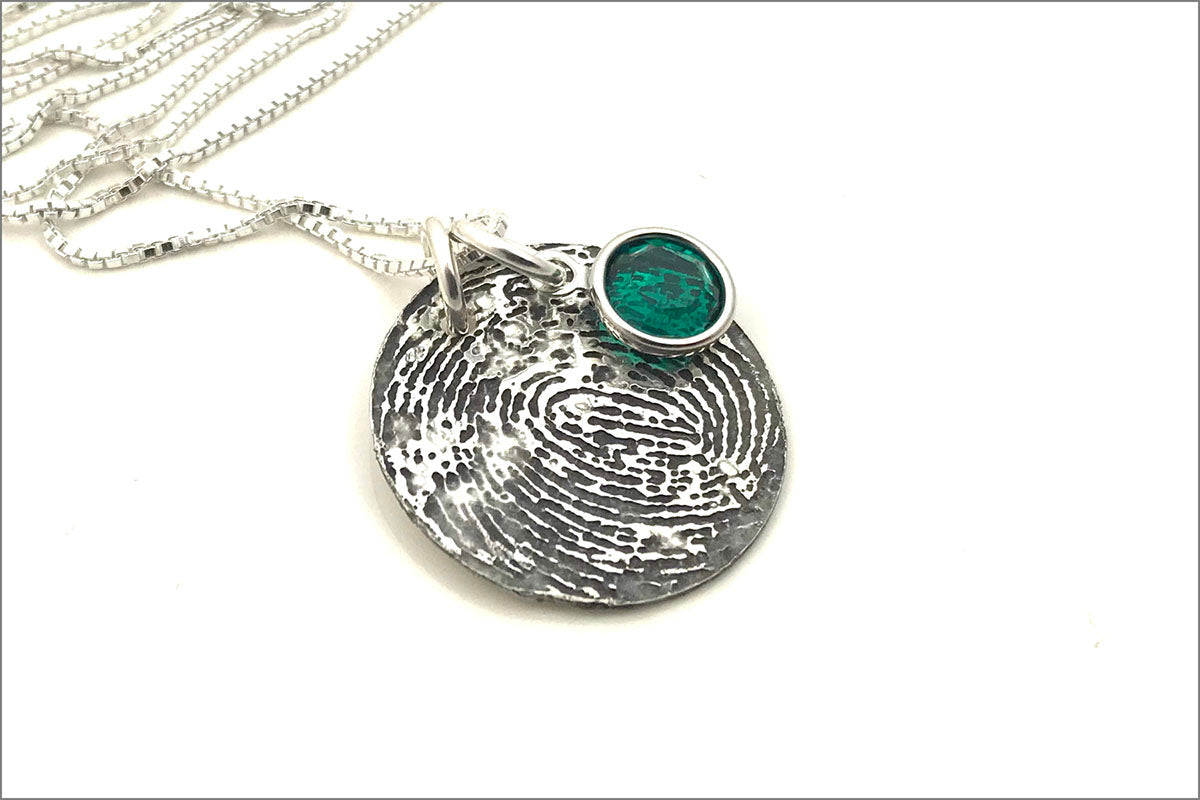Custom Fingerprint or Thumbprint Disc Necklace