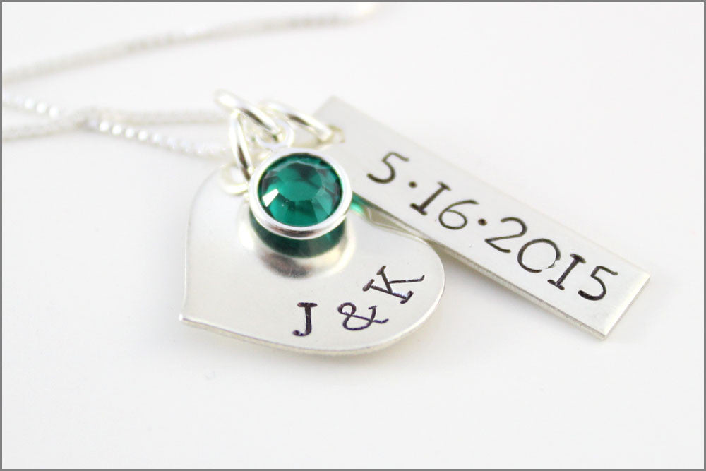 Custom Bridal Necklace Personalized Wedding Date Necklace Couples