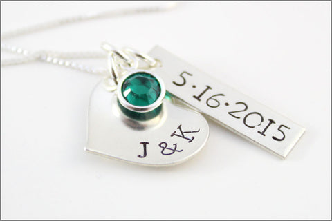 Custom Bridal Necklace with Initials and Wedding Date | Personalized Bridal Bouquet Accessory