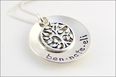 Custom Names Necklace | Sterling Silver Tree of Life Necklace, Personalized Mom Necklace, Hand Stamped Grandma Jewelry, Gift for Mother