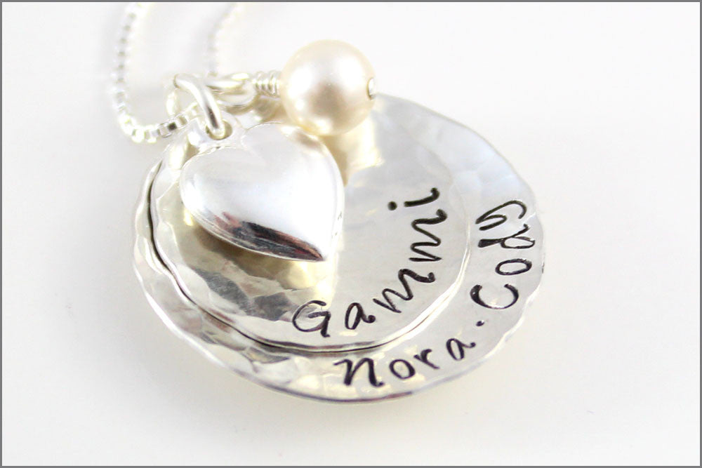 Personalized Gammi Necklace with Puffy Heart & Birthstone