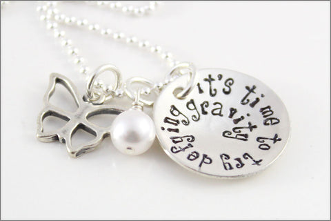 Defying Gravity Necklace with Butterfly Charm and Pearl | Sterling Silver Hand Stamped Jewelry