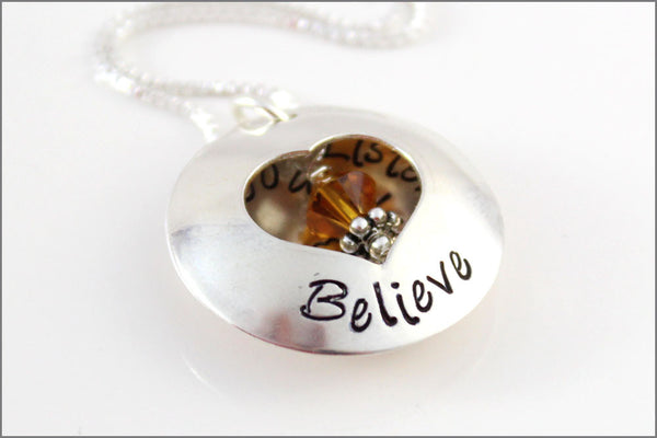 Listen to Your Heart & Follow Your Dreams | Personalized Graduation Locket in Sterling Silver | Stamped Jewelry
