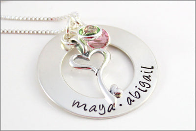 Personalized Sterling Silver Mom Washer Necklace | Key to My Heart Charm