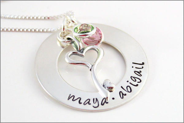 Personalized Mom Necklace with Names in Sterling Silver with Key to My Heart Charm | Hand Made Mommy Jewelry with Birthstones