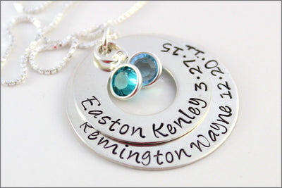 Personalized Name & Birthdate Necklace | Mom of Two Necklace, Stacked Washer Necklace, Sterling Silver Mom Necklace, Birthstone Necklace