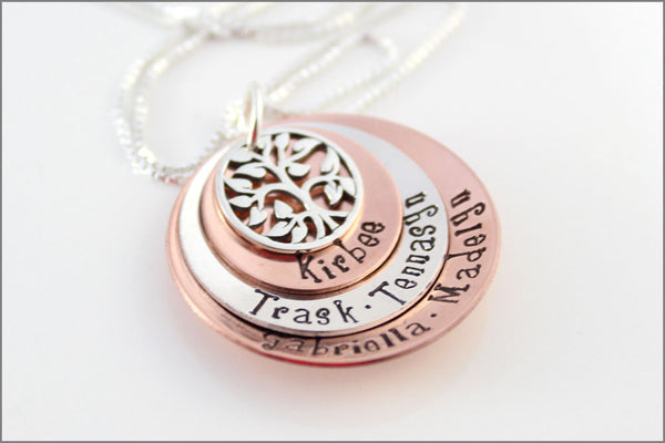Three Disc Stacked Necklace with Tree of Life Charm | Sterling Silver and Copper Personalized Grandma Necklace