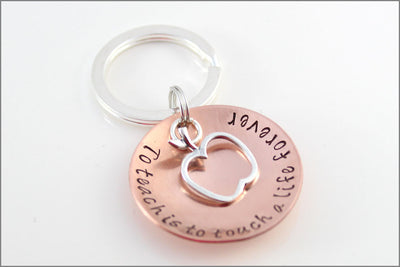 Unique Gift for Teacher | Sterling Silver Apple Charm, To Teach is to Touch a Life Forever, Small Gifts for Teacher, Special Educator Gift