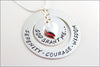 Serenity Prayer Necklace with Puffy Heart | Sterling Silver God Grant Me Serenity, Courage, Wisdom Hand Stamped Jewelry