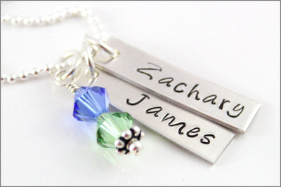 2 Tag Necklace Sterling Silver Necklace with Birthstones