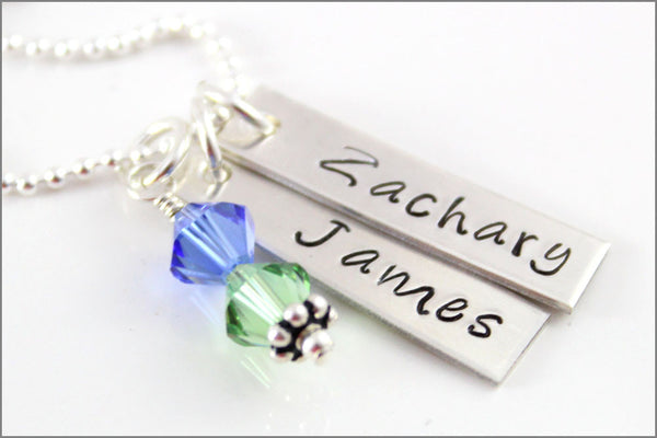 Custom Made Mommy Jewelry | 2 Tag Necklace & Birthstones, Sterling Silver Personalized Necklace, Two Name Necklace, Hand Stamped Jewelry