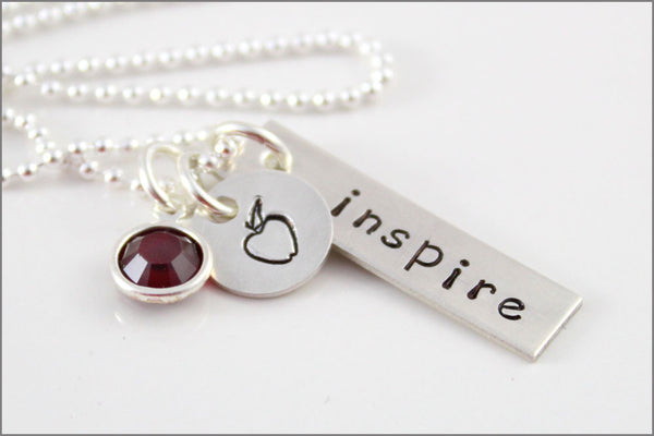 "Custom Teacher Necklace | Sterling Silver Tag with ""Inspire"" & Sterling Silver Apple Charm 