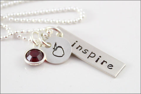Custom Teacher Necklace | Sterling Silver Inspire Charm, Sterling Silver Apple Charm, Unique Gifts for Teacher, Thank You Teacher Gift