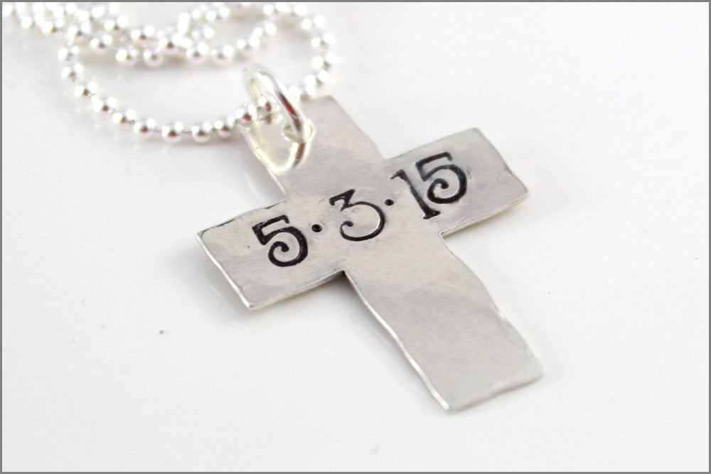 Personalized Cross Necklace | Custom Date Cross Necklace