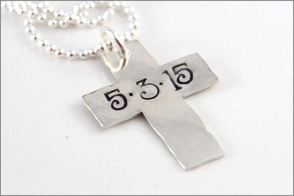 Personalized Cross Necklace with Date or Name | Hammered Cross Confirmation Gift