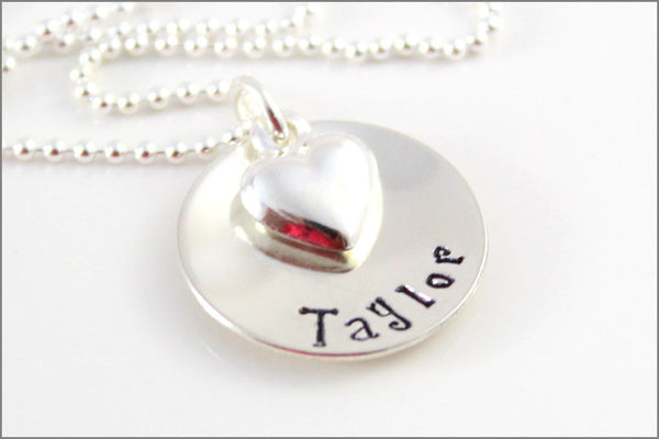 One Name Necklace with Puffy Heart - Personalized Sterling Silver Jewelry
