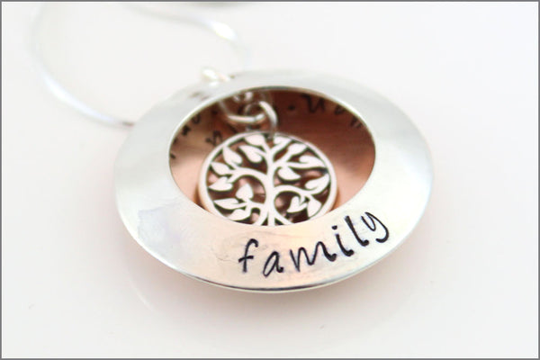 Personalized Locket Necklace | Tree of Life Charm, Sterling Silver & Copper Jewelry, Hand Stamped Family Jewelry, Gift Ideas for Grandma