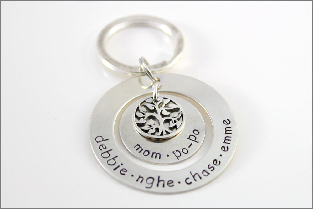 Personalized Grandma Keychain | Sterling Silver Tree of Life, Custom Name Key Chain, Small Gifts for Grandma, Unique Grandma Gifts
