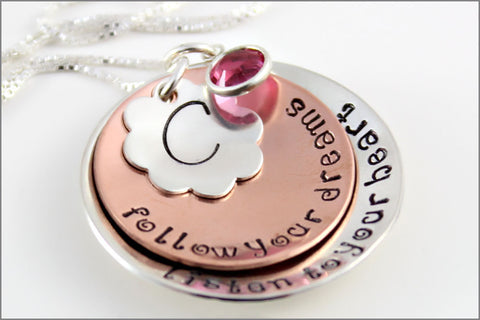 Custom Graduation Gift | Sterling Silver & Copper Jewelry, Follow Your Dreams Necklace, Monogram Necklace, Gifts for Graduate