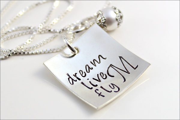 Dream, Live, Fly with Monogram Necklace | Custom Graduation Gift | Sterling Silver Personalized Jewelry