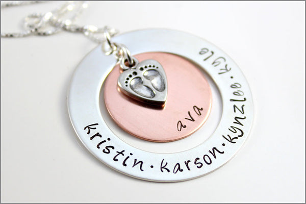 Personalized Grandma Necklace | Baby Feet Charm, Hand Stamped Silver Washer and Copper Disc, Custom Name Necklace, Gifts for Grandma