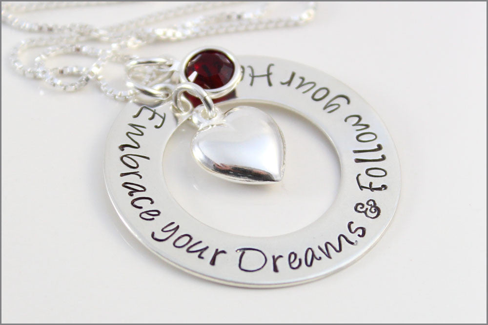 Embrace Your Dreams & Follow Your Heart Necklace | Custom Graduation Gift
