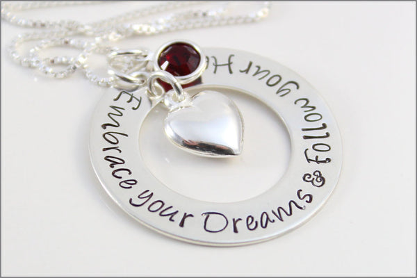 Custom Graduation Gift | Embrace Your Dreams & Follow Your Heart Necklace, Birthstone and Puffy Heart Charm, Gifts for Graduate