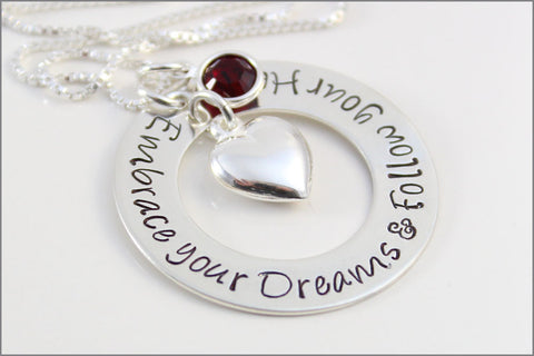Custom Graduation Gift | Embrace Your Dreams & Follow Your Heart Necklace with Birthstone and Puffy Heart