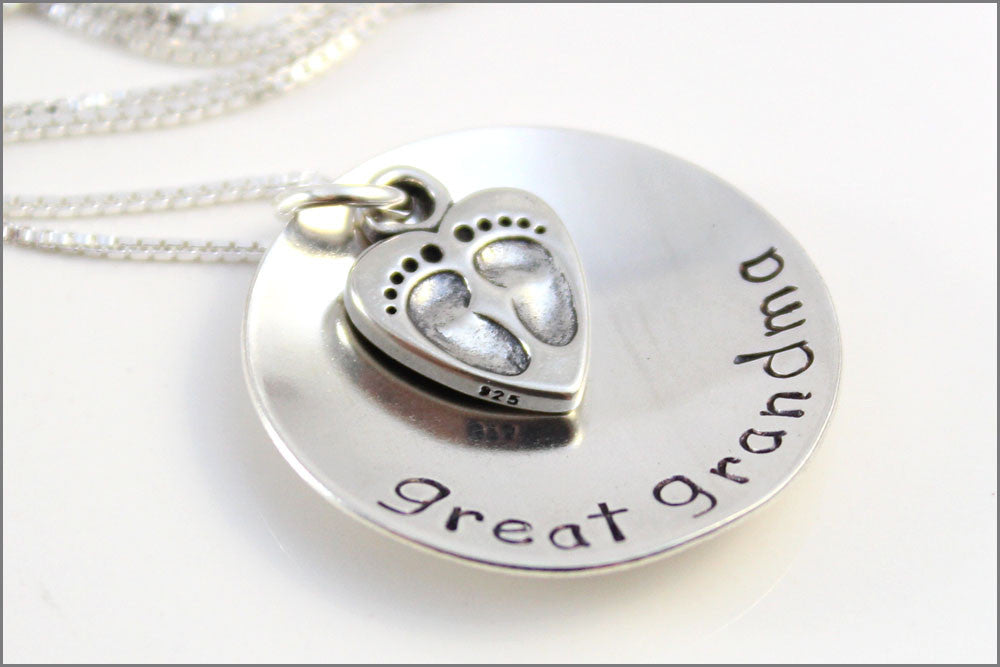 Custom Gift for Great Grandma | Sterling Silver Grandma Necklace, Beautiful Gifts for Her, Jewelry Gifts for Grandma