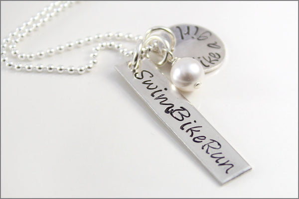Personalized Triathlon Jewelry | Swim Bike Run Necklace, Sterling Silver Triathlon Jewelry, Gifts for Runner, Gifts for Triathlete