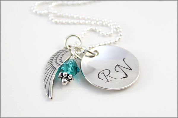 Nurse RN Necklace with Angel Wing Charm | Sterling Silver Personalized Nurse Jewelry