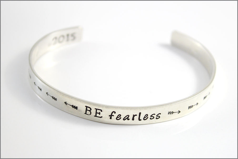 Personalized Sterling Cuff Bracelet | Be Fearless with Arrow Designs