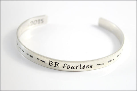 Personalized Sterling Cuff Bracelet BE Fearless with Arrow Designs | Custom Graduation Jewelry