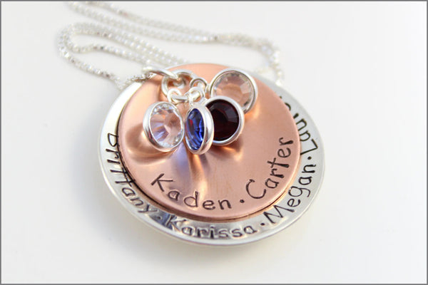 Gift for Mom Name Necklace in Copper & Sterling Silver with Birthstone Charms | Alternating Copper and Sterling Silver Necklace