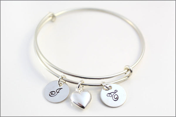 Couples Bangle Bracelet in Sterling Silver | Initial Charms & Puffy Heart Charm | Engagement or Wedding Gift