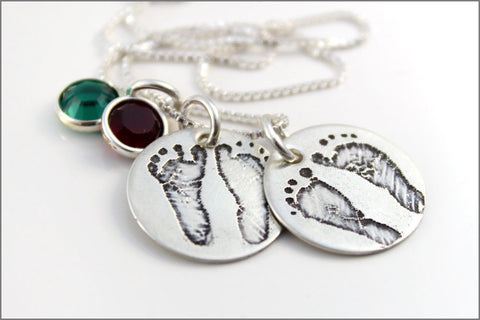 Custom Baby Feet Necklace with Actual Footprints | Two Sets of Footprints on Sterling Silver Necklace