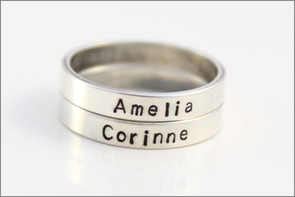 Personalized Name or Date Stacked Skinny Ring in Sterling Silver | Customize Ring with Your Information