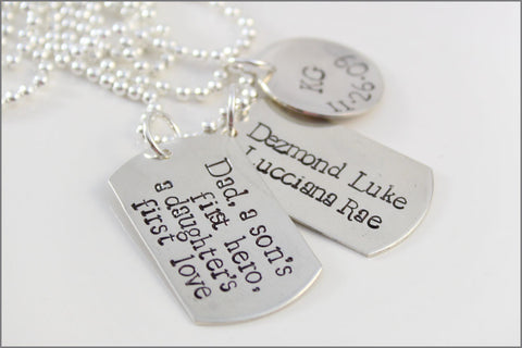 Dad, A Son's First Hero, A Daughter's First Love Necklace | Personalized Sterling Silver Dad Necklace | Dog Tag Necklace