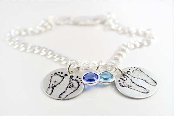 Custom Baby Feet Bracelet | Sets of Baby Footprints Jewelry, Actual Baby Foot Print Jewelry, Silver Baby Foot Print Jewelry