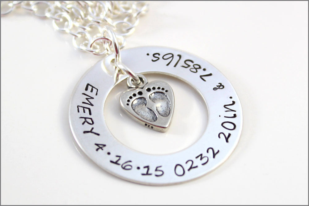 Very Sterling Silver Personalized Jewelry | Child Name Birthdate Weight  IT54