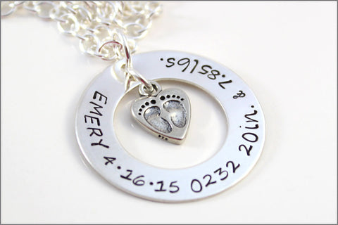 Children Names with Statistics Necklace & Baby Feet | Sterling Silver Personalized Jewelry | Grandma Gift or Mommy Gift