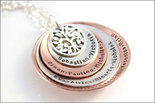 Four Disc Stacked Necklace with Tree of Life Charm - Sterling Silver and Copper - Personalized Grandma Necklace